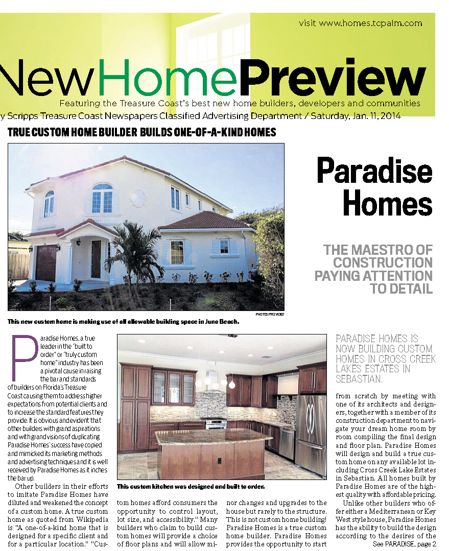 Paradise Homes- The Maestro of Construction Paying Attention to Detail